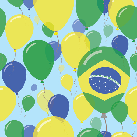Brazil National Day Flat Seamless Pattern. Flying Celebration Balloons in Colors of Brazilian Flag. Happy Independence Day Background with Flags and Balloons.