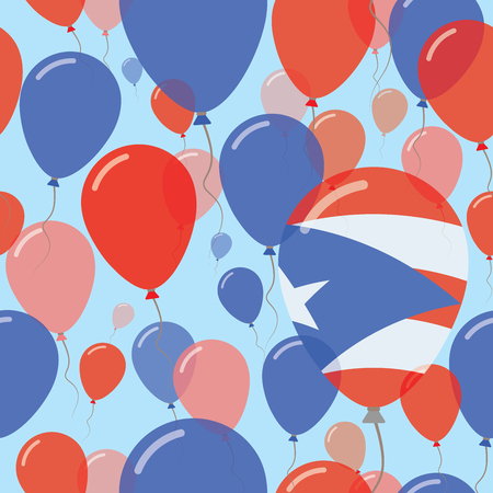 Puerto Rico National Day Flat Seamless Pattern. Flying Celebration Balloons in Colors of Puerto Rican Flag. Happy Independence Day Background with Flags and Balloons. Illustration