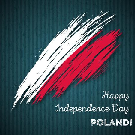 폴란드 독립 기념일 애국적인 디자인입니다. 어두운 스트라이프 배경에 국기 색의 표현 브러쉬 스트로크. 행복 한 독립 기념일 폴란드 벡터 인사말 카 일러스트