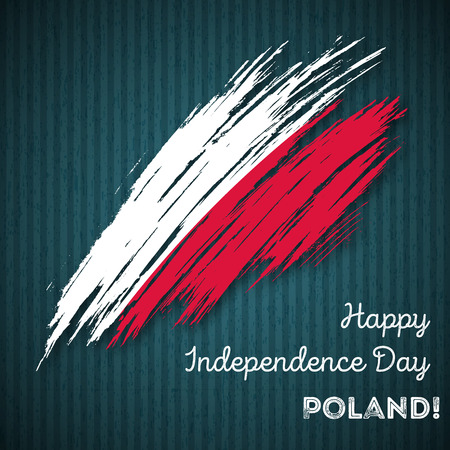 Poland Independence Day Patriotic Design. Expressive Brush Stroke in National Flag Colors on dark striped background. Happy Independence Day Poland Vector Greeting Card. Vectores