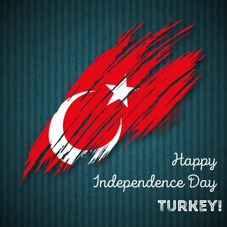 Turkey Independence Day Patriotic Design. Expressive Brush Stroke in National Flag Colors on dark striped background. Happy Independence Day Turkey Vector Greeting Card.