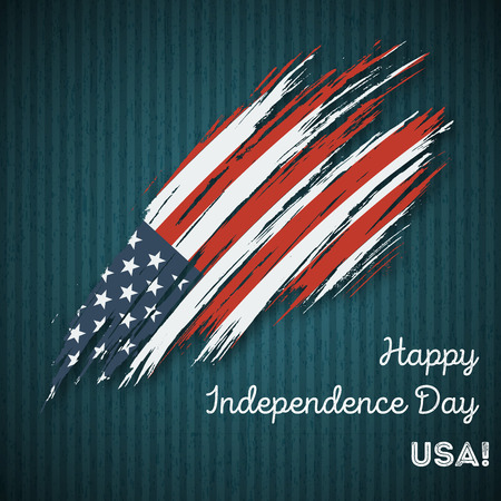 USA Independence Day Patriotic Design. Expressive Brush Stroke in National Flag Colors on dark striped background. Happy Independence Day USA Vector Greeting Card. Illustration