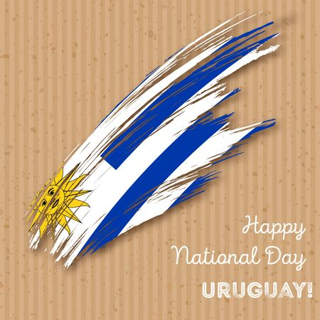Uruguay Independence Day Patriotic Design. Expressive Brush Stroke in National Flag Colors on kraft paper background. Happy Independence Day Uruguay Vector Greeting Card.