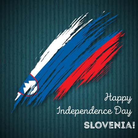 Slovenia Independence Day Patriotic Design. Expressive Brush Stroke in National Flag Colors on dark striped background. Happy Independence Day Slovenia Vector Greeting Card.