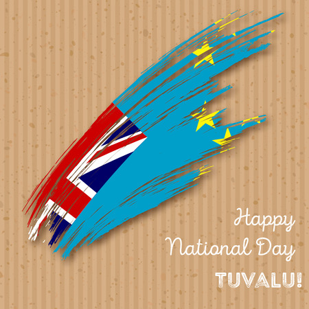 Tuvalu Independence Day Patriotic Design. Expressive Brush Stroke in National Flag Colors on kraft paper background. Happy Independence Day Tuvalu Vector Greeting Card.