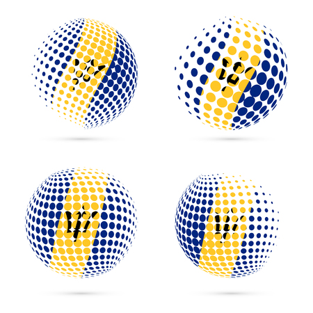 Barbados halftone flag set patriotic vector design. 3D halftone sphere in Barbados national flag colors isolated on white background.