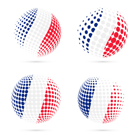 France halftone flag set patriotic vector design. 3D halftone sphere in France national flag colors isolated on white background.