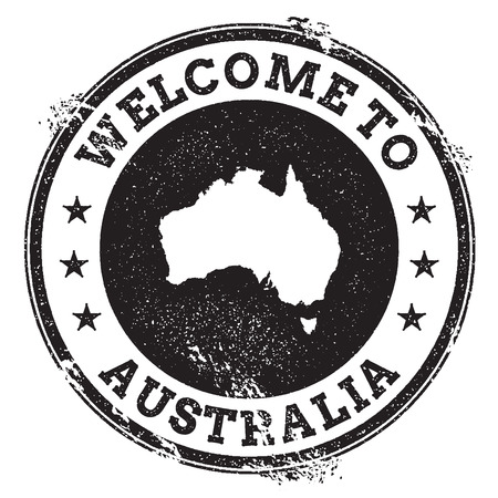 Vintage passport welcome stamp with Australia map. Grunge rubber stamp with Welcome to Australia text, vector illustration. Illustration