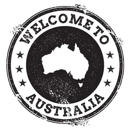 Vintage paspoort welkom stempel met kaart van Australië. Grunge rubberzegel met Onthaal aan de tekst van Australië, vectorillustratie.