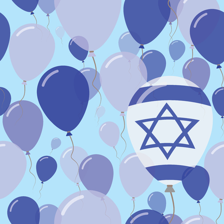 Israel National Day Flat Seamless Pattern. Flying Celebration Balloons in Colors of Israeli Flag. Happy Independence Day Background with Flags and Balloons.