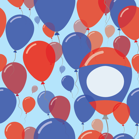 Lao Peoples Democratic Republic National Day Flat Seamless Pattern. Flying Celebration Balloons in Colors of Laotian Flag. Happy Independence Day Background with Flags and Balloons. Illustration