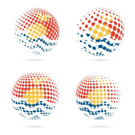Kiribati halftone flag set patriotic vector design. 3D halftone sphere in Kiribati national flag colors isolated on white background.