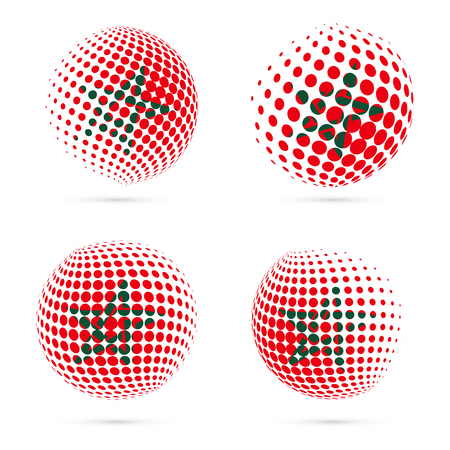 Morocco halftone flag set patriotic vector design. 3D halftone sphere in Morocco national flag colors isolated on white background.