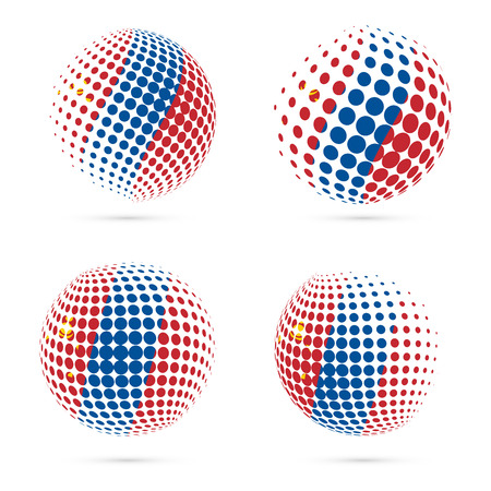 Mongolia halftone flag set patriotic vector design. 3D halftone sphere in Mongolia national flag colors isolated on white background. Illustration