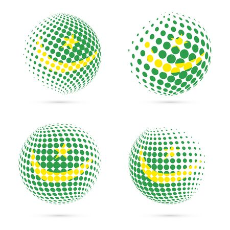 mauritania: Set of Mauritania halftone flag patriotic vector design.