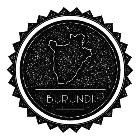 Burundi Map Label with Retro Vintage Styled Design. Hipster Grungy Burundi Map Insignia Vector Illustration. Country round sticker.