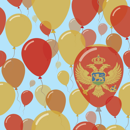 Montenegro National Day Flat Seamless Pattern. Flying Celebration Balloons in Colors of Montenegrin Flag. Happy Independence Day Background with Flags and Balloons. Illustration
