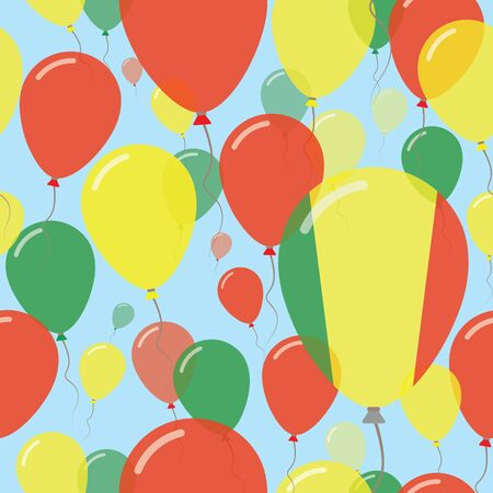 Mali National Day Flat Seamless Pattern. Flying Celebration Balloons in Colors of Malian Flag. Happy Independence Day Background with Flags and Balloons.