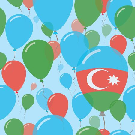 Azerbaijan National Day Flat Seamless Pattern. Flying Celebration Balloons in Colors of Azerbaijani Flag. Happy Independence Day Background with Flags and Balloons.