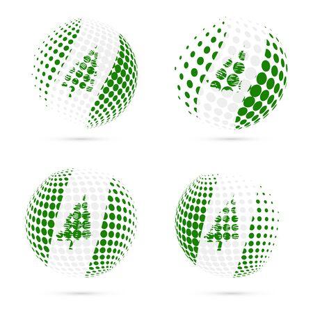 kingston: Norfolk Island halftone flag set patriotic vector design. 3D halftone sphere in Norfolk Island national flag colors isolated on white background.