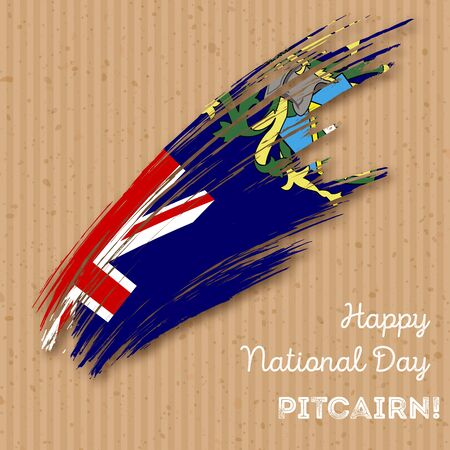 oceania: Pitcairn Independence Day Patriotic Design. Expressive Brush Stroke in National Flag Colors on kraft paper background. Happy Independence Day Pitcairn Vector Greeting Card. Illustration