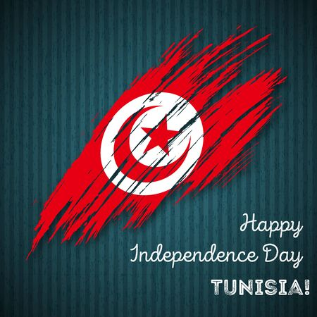 Expressive Brush Stroke in National Flag Colors on dark striped background with text Happy Independence Day Tunisia Vector Greeting Card. Illustration