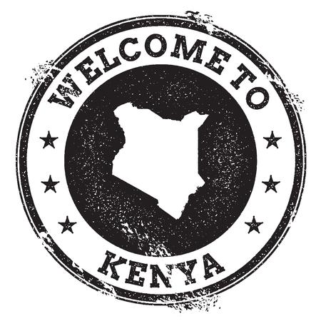 Bollo benvenuto del passaporto d'annata con la mappa del Kenya. Grunge timbro di gomma con il benvenuto in Kenya testo, illustrazione vettoriale. Vettoriali