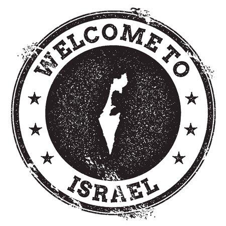 Vintage passport welcome stamp with Israel map. Grunge rubber stamp with Welcome to Israel text, vector illustration. 向量圖像