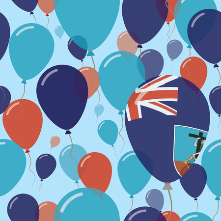 Flying Balloons in Colors of Montserratian Flag for Independence Day Celebration Background with Flags and Balloons. Illustration