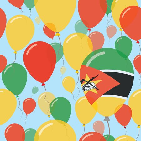 proclamation: Flying Balloons in Colors of Mozambican Flag for Independence Day Celebration Background with Flags and Balloons.