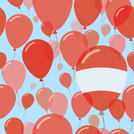 Flying Balloons in Colors of Austria Flag for Independence Day Celebration Background with Flags and Balloons. Illustration