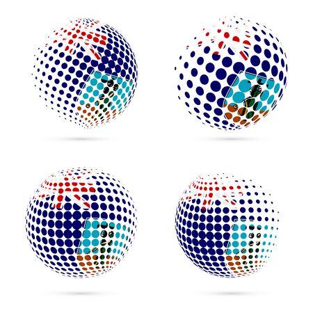 Montserrat halftone flag set patriotic vector design. 3D halftone sphere in Montserrat national flag colors isolated on white background.