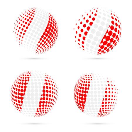 bandera de peru: Peru halftone flag set patriotic vector design. 3D halftone sphere in Peru national flag colors isolated on white background. Vectores