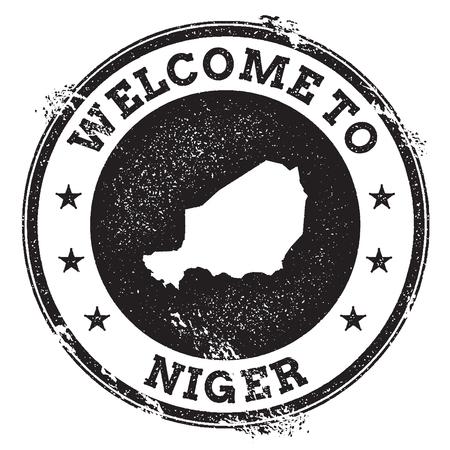 Bollo benvenuto del passaporto d'annata con la mappa del Niger. Timbro di gomma di lerciume con benvenuto al testo del Niger, illustrazione di vettore.