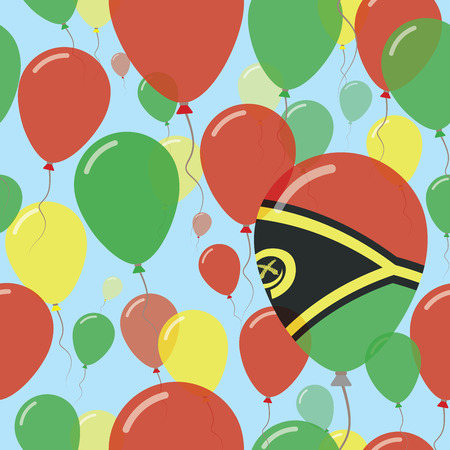 Vanuatu National Day Flat Seamless Pattern. Flying Celebration Balloons in Colors of Ni-Vanuatu Flag. Happy Independence Day Background with Flags and Balloons.