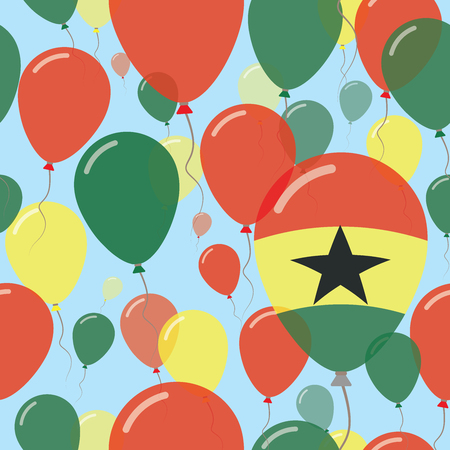 Ghana National Day Flat Seamless Pattern. Flying Celebration Balloons in Colors of Ghanaian Flag. Happy Independence Day Background with Flags and Balloons.