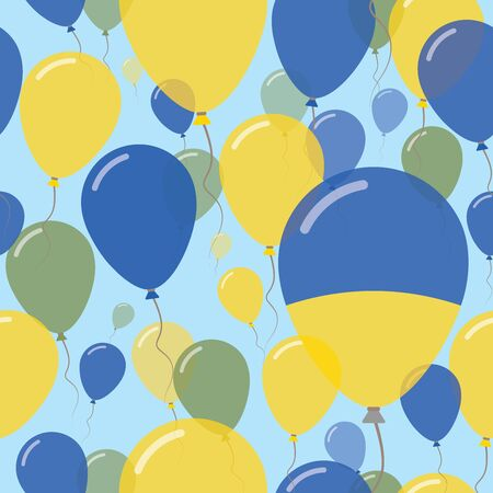 Ukraine National Day Flat Seamless Pattern. Flying Celebration Balloons in Colors of Ukrainian Flag. Happy Independence Day Background with Flags and Balloons.
