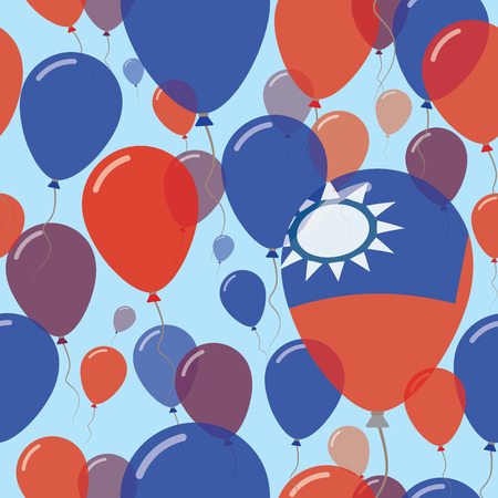 Taiwan, Republic Of China National Day Flat Seamless Pattern. Flying Celebration Balloons in Colors of Taiwanese Flag. Happy Independence Day Background with Flags and Balloons. Illustration