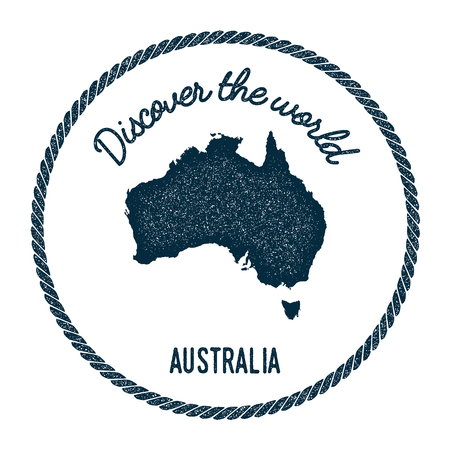 Vintage discover the world rubber stamp with Australia map. Hipster style nautical postage stamp, with round rope border. Vector illustration.