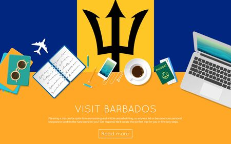 Visit Barbados concept for your web banner or print materials. Top view of a laptop, sunglasses and coffee cup on Barbados national flag. Flat style travel planninng website header. Illustration