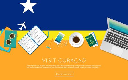 Visit Curacao concept for your web banner or print materials. Top view of a laptop, sunglasses and coffee cup on Curacao national flag. Flat style travel planninng website header.