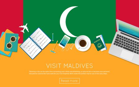 top 7: Visit Maldives concept for your web banner or print materials. Top view of a laptop, sunglasses and coffee cup on Maldives national flag. Flat style travel planninng website header.