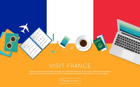 Visit France concept for your web banner or print materials. Top view of a laptop, sunglasses and coffee cup on France national flag. Flat style travel planninng website header.