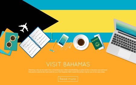 vacation with laptop: Visit Bahamas concept for your web banner or print materials. Top view of a laptop, sunglasses and coffee cup on Bahamas national flag. Flat style travel planninng website header.