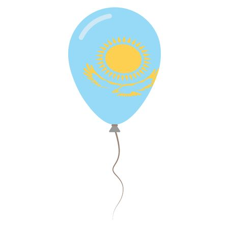 Republic of Kazakhstan national colors isolated balloon on white background. Independence day patriotic poster. Flat style National day vector illustration.