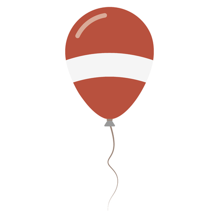 Republic of Latvia national colors isolated balloon on white background. Independence day patriotic poster. Flat style National day vector illustration.
