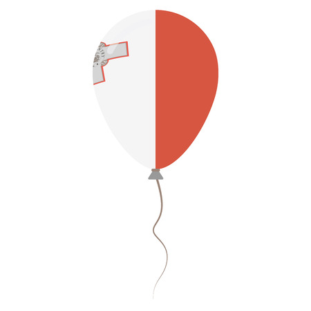 Republic of Malta national colors isolated balloon on white background. Independence day patriotic poster. Flat style National day vector illustration.
