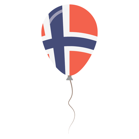 Kingdom of Norway national colors isolated balloon on white background. Independence day patriotic poster. Flat style National day vector illustration.