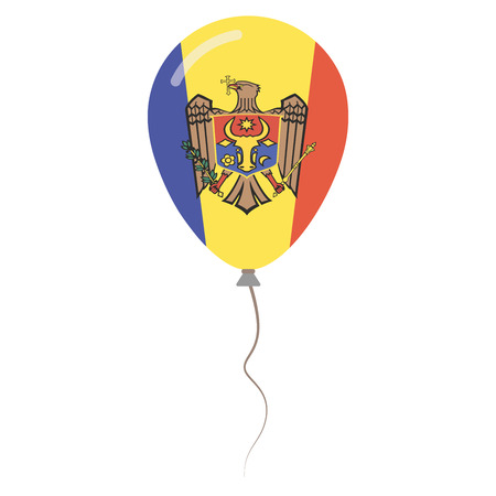 Republic of Moldova national colors isolated balloon on white background. Independence day patriotic poster. Flat style National day vector illustration. Illustration