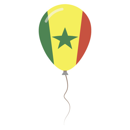 Republic of Senegal national colors isolated balloon on white background. Independence day patriotic poster. Flat style National day vector illustration.